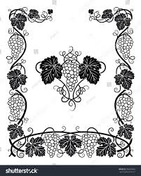 beautiful frame center ornament grapes vines stock vector