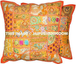 2pc orange patchwork pillows indian embroidered dining chair cushions