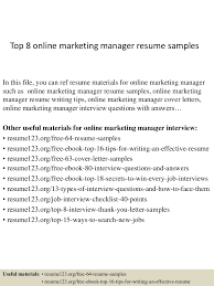 Resume Examples Online by Top8onlinemarketingmanagerresumesamples 150402080723 Conversion Gate01 Thumbnail 4 Jpg Cb U003d1427980094
