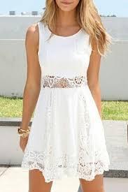 white lace dress white lace insert waist tanks a line dress beautifulhalo