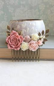 rose hair comb country wedding dusty rose pink floral collage