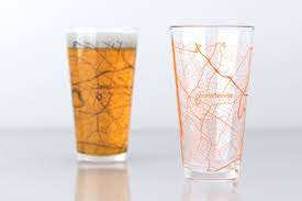 Uva Map Charlottesville Va Uva College Town Map Pint Glass Set