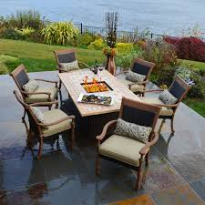 fair outdoor furniture with fire pit in home decoration for