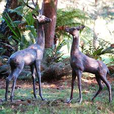 large deer stag bronze statues garden ornaments candle and