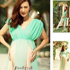 maternity photo props silver green gown two layer gauze studio maternity photography