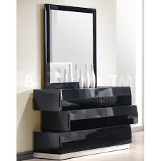 milan dresser and mirror in black lacquered finish 902 00