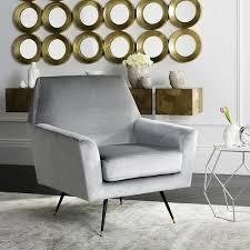Grey Accent Chair Safavieh Mid Century Modern Nynette Velvet Light Grey Accent Chair
