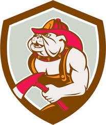 bulldog dog fireman axe walking cartoon royalty free stock