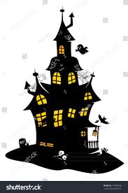 traditional drawing black halloween manor monsters stock vector