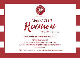 Invitation Card For Reunion Party Reunions U2013 Events U2013 Sacred Heart Academy
