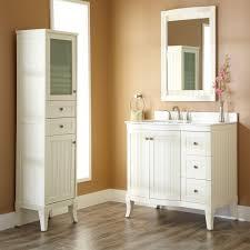 natural varnished oak wood floor bathroom cabinet with glass door