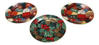 fitz and floyd porcelain christmas plates set of 3 chairish