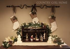 country home christmas stockings and nativity