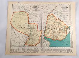 Old Map South America by 1943 Map Of Uruguay U0026 Paraguay Antique Argentina Chili Map