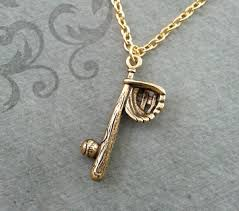 baseball necklace baseball jewelry gold baseball bat