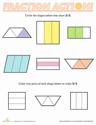 fractions of shapes 2 3 worksheet education com