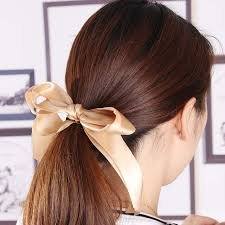 ribbon ponytail fashion women satin ribbon bow elastic hair band hair tie