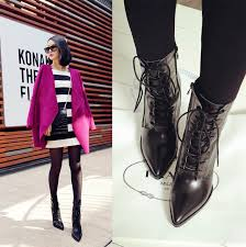 womens boots on ebay womens pointy toe combat boots lace up wedge high boots ebay