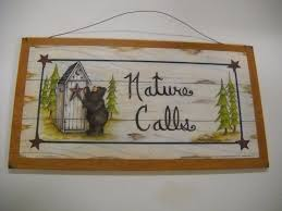 calls brown bear country bathroom sign outhouse lodge cabin bath