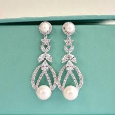 bridesmaid pearl earrings deco bridal pearl earrings cz pearl wedding earrings