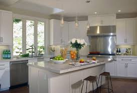 Cream Kitchen Cabinets With Blue Walls Grey Granite Countertop Silver Simple Handle Dishwasher Large