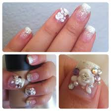 design by vi gel french gradient with 3d flower art and gems