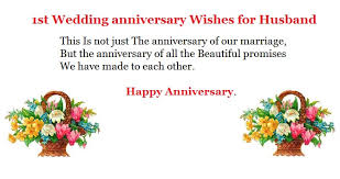 Wedding Anniversary Wishes For Husband 1st Wedding Anniversary For Husband Tbrb Info