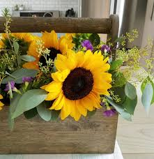 sunflower centerpiece rustic sunflower centerpiece