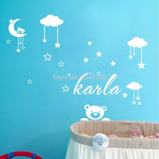online shop diy teddy bear moon clouds stars decorative wall online shop diy teddy bear moon clouds stars decorative wall stickers custom name vinyl art decal for babys room aliexpress mobile