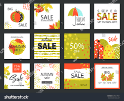 set artistic creative autumn sale cards stock vector 678617851