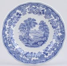spode rhine plate c1950s of blue and white