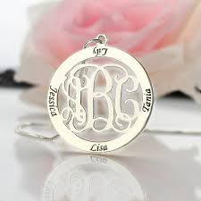 Necklace With Kids Names Wholesale Family Name Necklace Custom Circle Monogram Mother