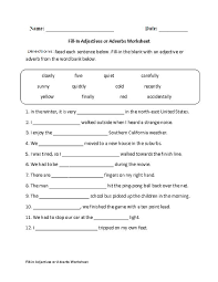 adjectives and adverbs worksheet worksheets