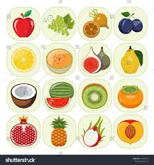set different kinds fruit icons vegetarian stock vector 266437253