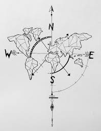 Simple Vector World Map by Geometric World Map Compass Arrow Nautical Travel Tattoo Design