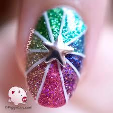 piggieluv glitter pinwheel nail art