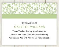 thank you for funeral flowers damask funeral thank you card printable digital file funeral