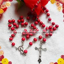 pink rosary 7mm pink wood bead rosary religious rosary necklace pink rosary