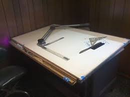 Vemco Drafting Table Hamilton Drafting Table 37 X 60 With Vemco Drafting Machine Ebay