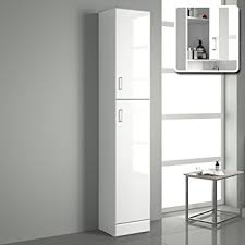 IBathUK Tall Gloss White Bathroom Cupboard Reversible Storage - Bathroom cabinets in white gloss