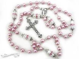 pink rosary confirmation rosary baptism gift communion