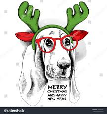 christmas poster basset hound dog reindeer stock vector 327854381