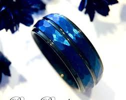 blue wedding rings blue wedding band etsy