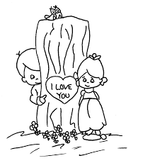 free coloring page kids in love