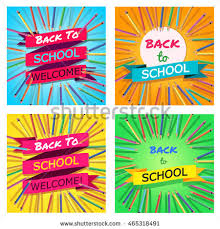 welcome brochure template back school set background colorful pencils stock vector 465318491