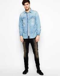 light blue jean shirt lyst pepe jeans pepe denim shirt carson western light wash in blue