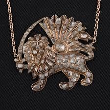 diamond necklace photos images Antique persian lion rose cut diamond necklace beetle jpg