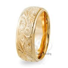 hand engraved mens wedding bands 10k yellow gold wedding rings