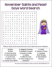 november saints and feast days word search for catholic