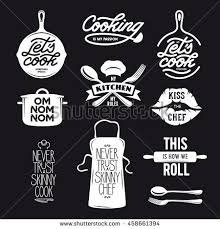 kitchen related typography set quotes about stock vector 431439829